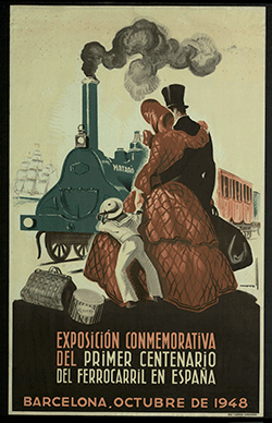 Cartel de la exposición conmemorativa del 1er centenario del ferrocarril.