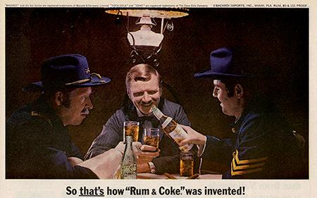 Anunci publicat a la revista Life (maig, 1966). El combinat Cuba Libre fou creat una tarda de calor del mes d'agost de 1900. Una colla de soldats del Grup de Senyals nord-americà es va reunir per prendre una beguda al Bar American a l'Havana. El Sr. Russell va demanar un Bacardí amb Coca-Cola, gel i una mica de llimona espremuda. Els seus soldats van provar la beguda, els va agradar i van demanar una ronda per a tothom. Llavors, un del grup va suggerir un brindis per Cuba Lliure.  Foto: Bacardí