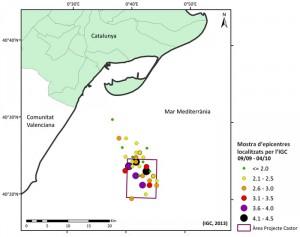 Mostra d'epicentres localitzats per l'Institut Geològic de Catalunya. / IGC